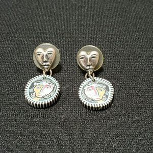 Jewelry - Silver heart and clay face earrings